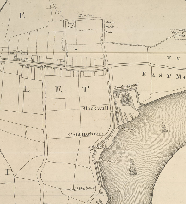A New & Exact Plan of ye City of LONDON, detail showing Blackwall